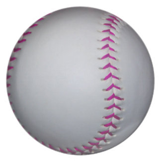 Pink Stitches Softball Dinner Plate