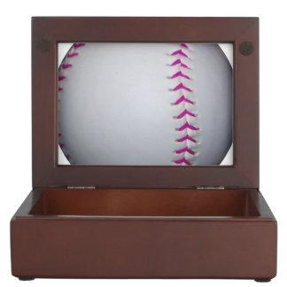 Pink Stitches Softball Memory Box