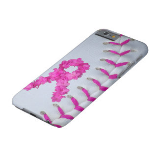 Pink Stitches Softball w/ Flower Ribbon Barely There iPhone 6 Case
