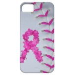 Pink Stitches Softball w/ Flower Ribbon iPhone 5 Cover