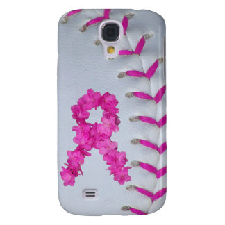 Pink Stitches Softball w/ Flower Ribbon Galaxy S4 Cover