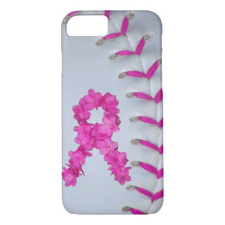 Pink Stitches Softball w/ Flower Ribbon iPhone 8/7 Case