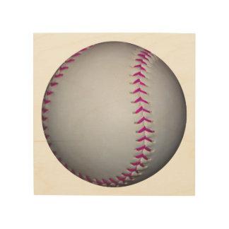Pink Stitches Softball Wood Prints