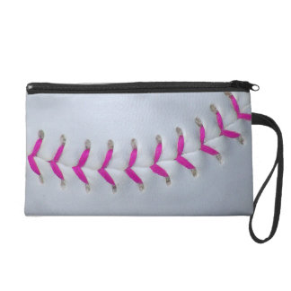 Pink Stitches Softball Wristlet