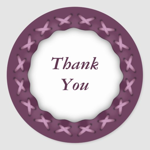 Pink Stitches Sticker - Thank You