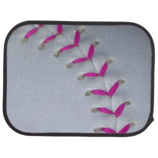 Pink Stitching Softball Car Mat