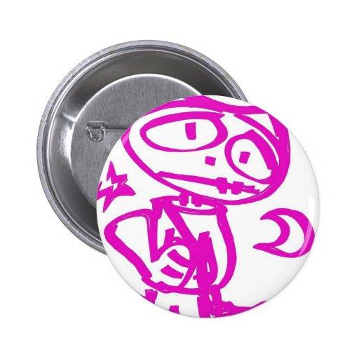 "PINK Stitchlip (The Cartoon Cat) ""Hitchhiking"" Button"