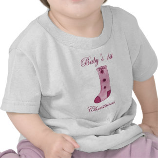 Pink Stocking Baby s 1st Christmas T Shirts
