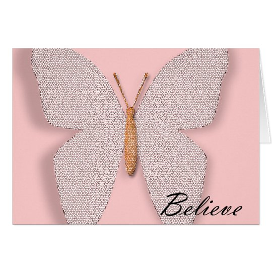 Pink Stone Believe Butterfly Card