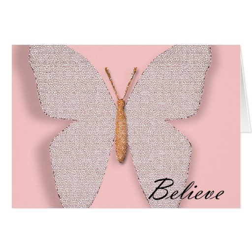 Pink Stone Believe Butterfly Greeting Card