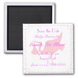 Pink Stork 2 Inch Square Magnet