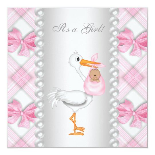 Pink Stork African American Baby Girl Shower Card