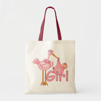 Pink Stork Baby Girl Canvas Bag