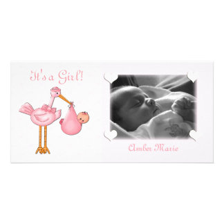 Pink Stork Baby Girl Card