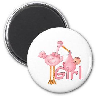 Pink Stork Baby Girl 2 Inch Round Magnet