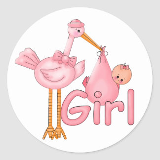 Pink Stork Baby Girl Classic Round Sticker
