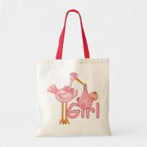 Pink Stork Baby Girl Tote Bag
