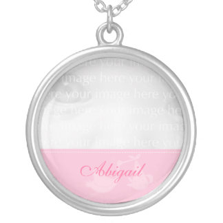Pink Stork Baby Photo Silver Necklace