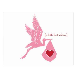 Pink Stork Baby Shower Invitation Postcard