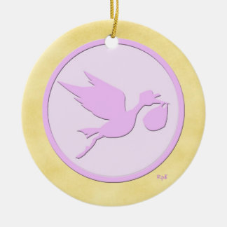 Pink Stork: Baby's 1st Christmas (add the year) Christmas Ornament