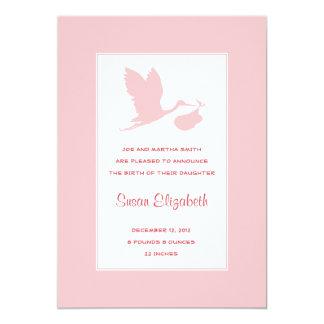 Pink Stork Birth Announcement