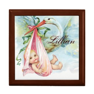 Pink Stork Vintage Baby Jewelry Box