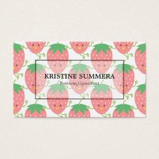 Pink Strawberries Kawaii Bakeshop Patisserie Business Card