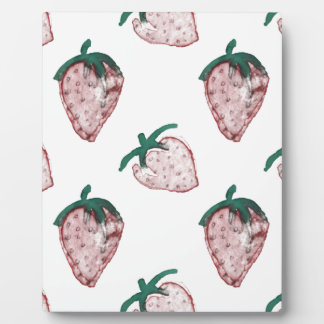 Pink Strawberries Tiled on Creamy White Background Plaque