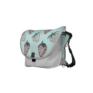 Pink Strawberries Tiled on Ice Blue Background Small Messenger Bag