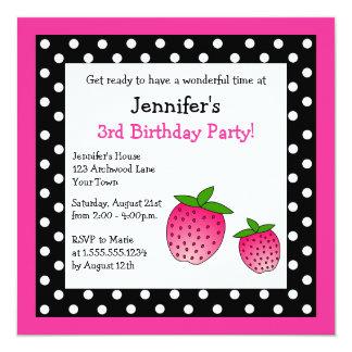 Pink Strawberry Birthday Black & White Polka Dots Card