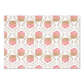 "Pink Strawberry Champagne Cupcakes Invitation 3.5"" X 5"" Invitation Card"