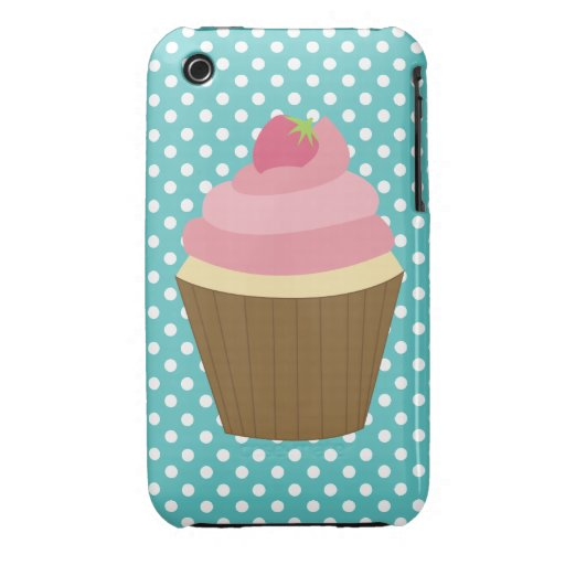 Pink Strawberry Cupcake Illustration iPhone 3 Case-Mate Case
