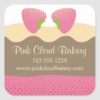 Pink strawberry dessert cake baking gift tag label stickers