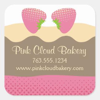 Pink strawberry dessert cake baking gift tag label square sticker
