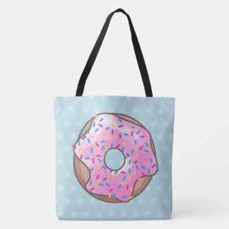 Pink Strawberry Donut Tote Bag