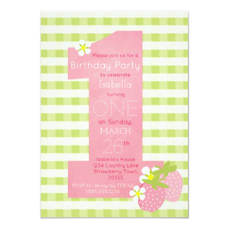 Pink Strawberry First Birthday Party Invitation