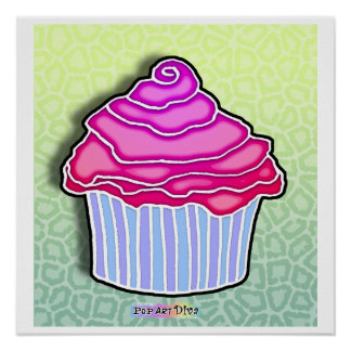 Pink Strawberry Frosted BLUE CUPCAKE POSTER