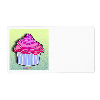 Pink Strawberry Frosted CUPCAKE AVERY LABEL