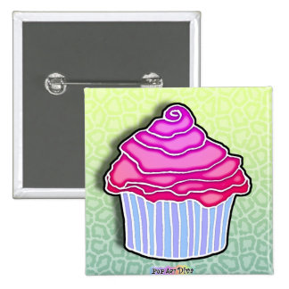 Pink Strawberry Frosted CUPCAKE BUTTON
