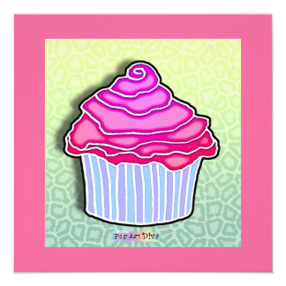 Pink Strawberry Frosted CUPCAKE INVITATIONS