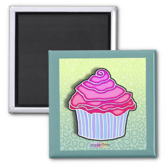 Pink Strawberry Frosted CUPCAKE MAGNET