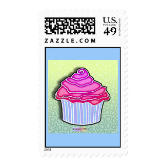 Pink Strawberry Frosted CUPCAKE POSTAGE