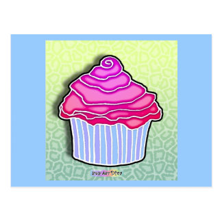 Pink Strawberry Frosted CUPCAKE POSTCARD