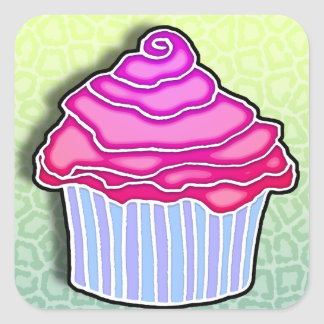 Pink Strawberry Frosted CUPCAKE STICKER
