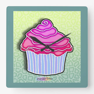 Pink Strawberry Frosted CUPCAKE WALL CLOCK