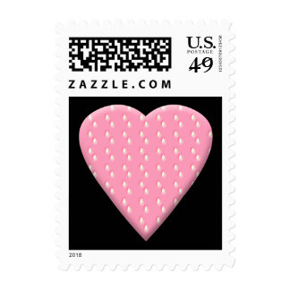 Pink Strawberry Heart. Stamp