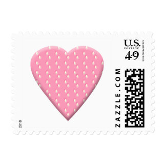 Pink Strawberry Heart. Postage Stamps