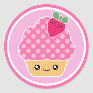 Pink Strawberry Kawaii Cupcake Stickers