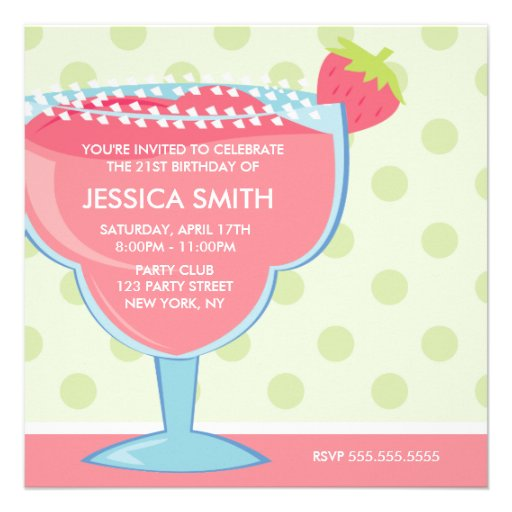 Pink Strawberry Margarita Party Invitation