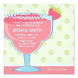 Pink Strawberry Margarita Party 5.25x5.25 Square Paper Invitation Card